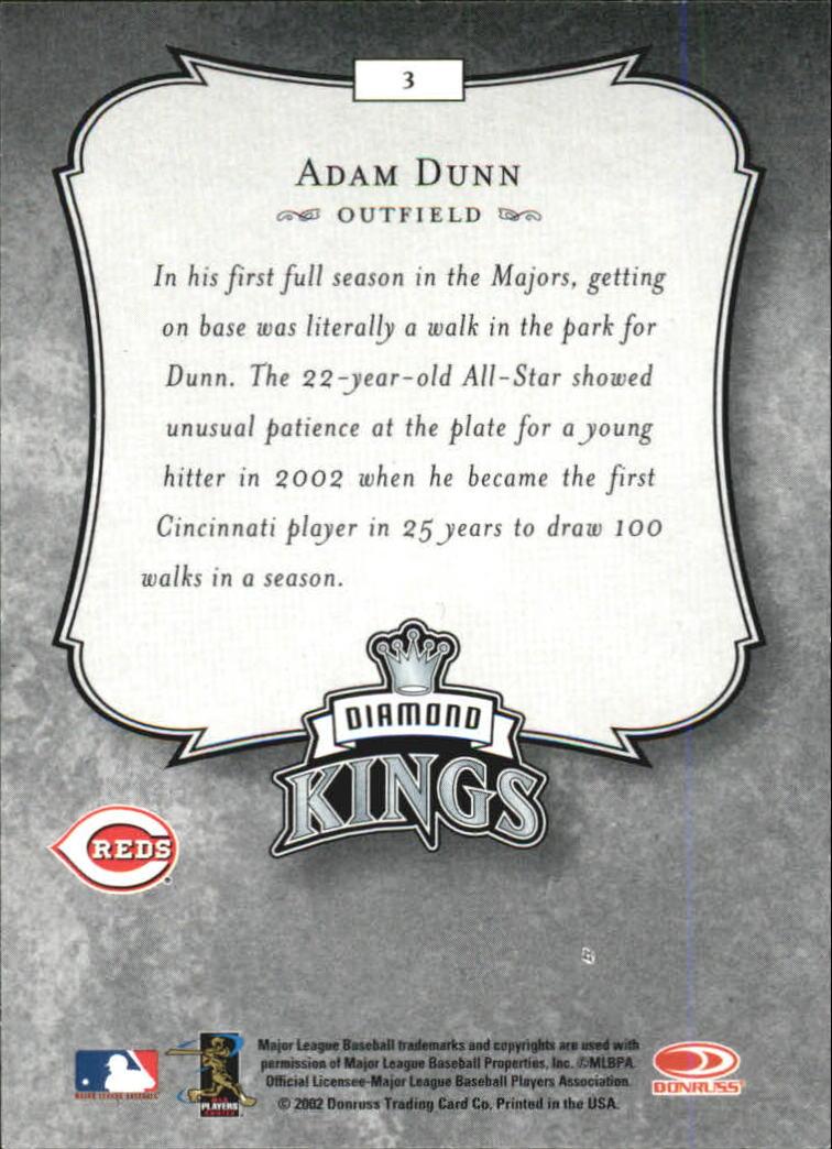 2003 Donruss #3 Adam Dunn DK back image