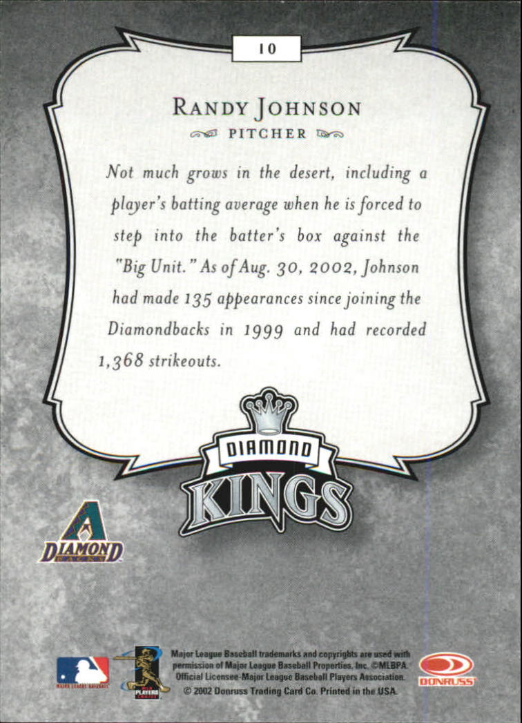 2003 Donruss #10 Randy Johnson DK back image