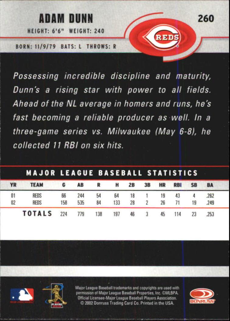 2003 Donruss #260 Adam Dunn back image