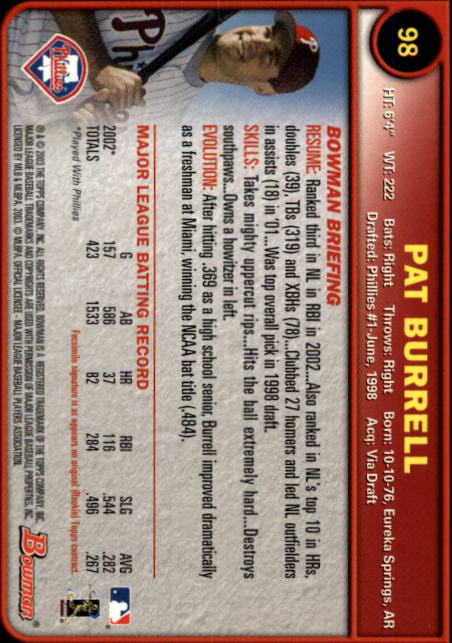 2003 Bowman #98 Pat Burrell back image