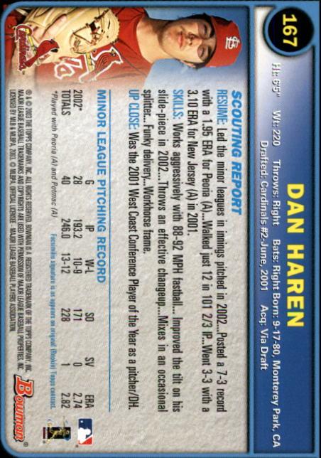 2003 Bowman #167 Dan Haren RC back image