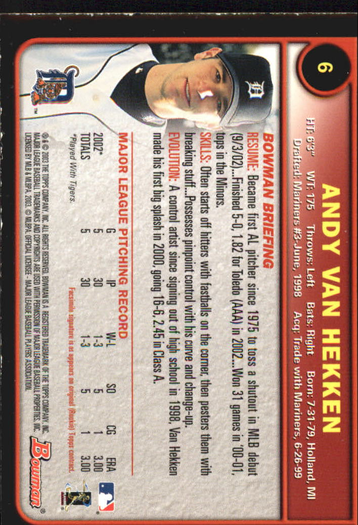 2003 Bowman Gold #6 Andy Van Hekken back image