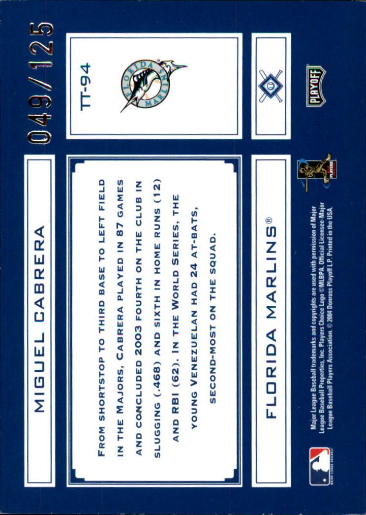 2004 Absolute Memorabilia Tools of the Trade Blue Spectrum #TT94 Miguel Cabrera back image