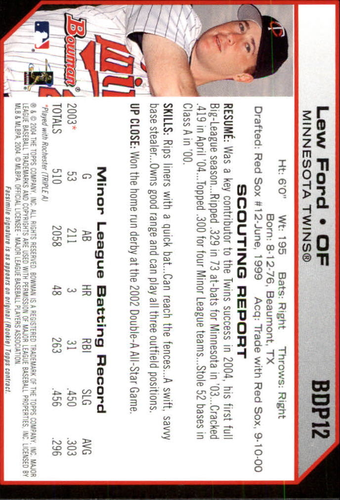 2004 Bowman Draft #12 Lew Ford back image