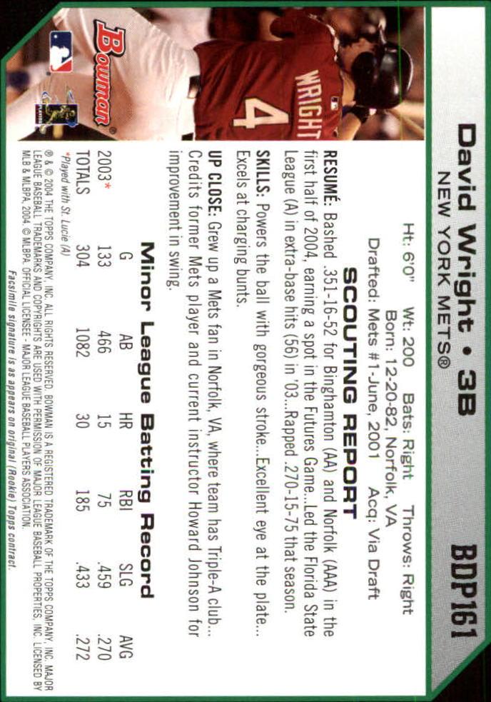 2004 Bowman Draft #161 David Wright back image