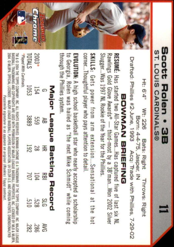 2004 Bowman Chrome #11 Scott Rolen back image