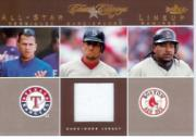 2004 Classic Clippings All-Star Lineup Swatch #NG Nomar w/A.Rod-Manny