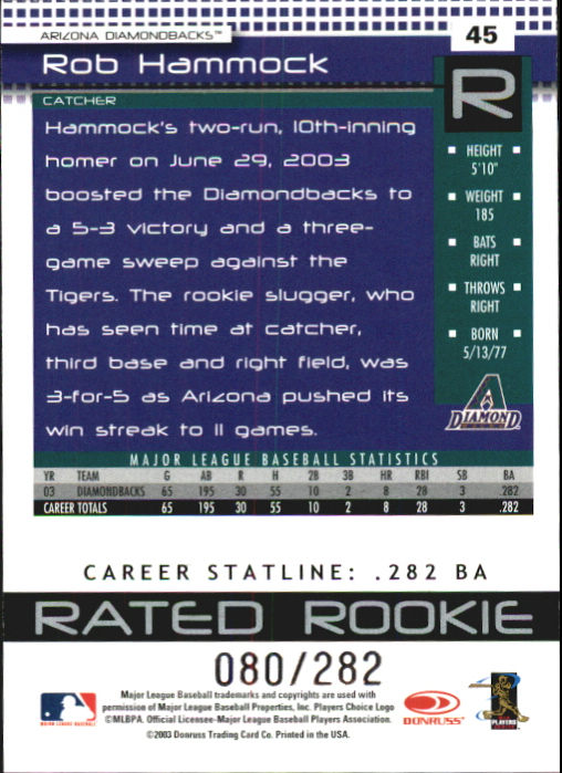 2004 Donruss Stat Line Career #45 Rob Hammock RR/282 back image