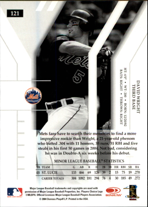 2004 Donruss Elite Extra Edition #121 David Wright back image