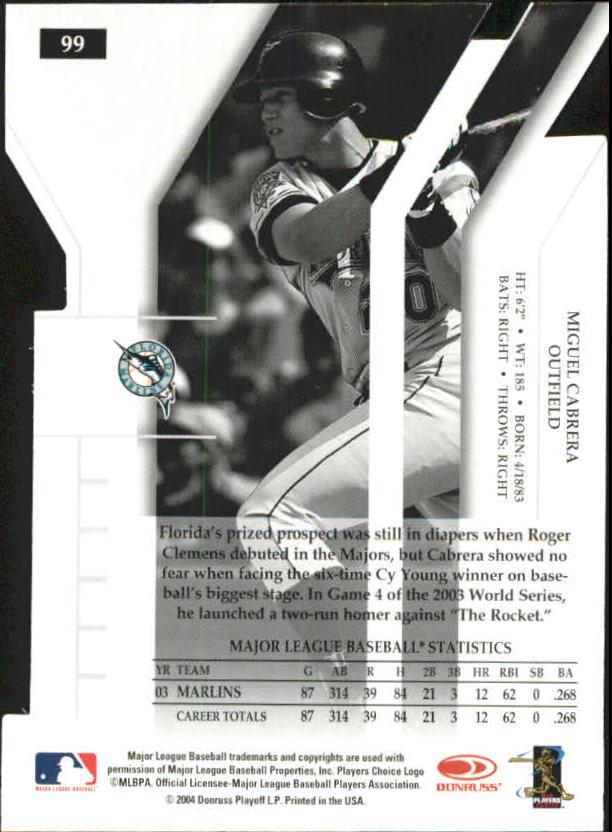 2004 Donruss Elite Extra Edition Turn of the Century #99 Miguel Cabrera back image