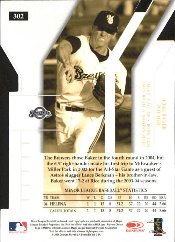 2004 Donruss Elite Extra Edition Signature Aspirations Gold #302 Josh Baker DP/25 back image