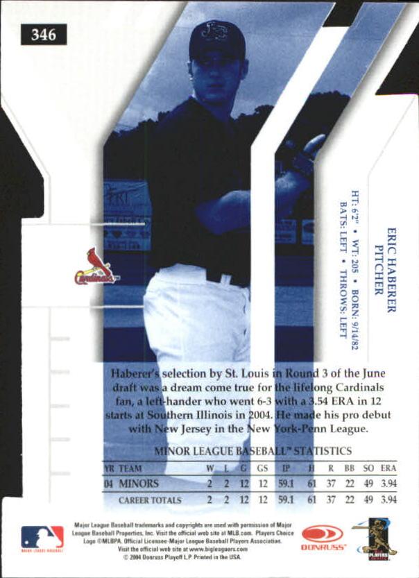 2004 Donruss Elite Extra Edition Signature Status #346 Eric Haberer DP/50 back image