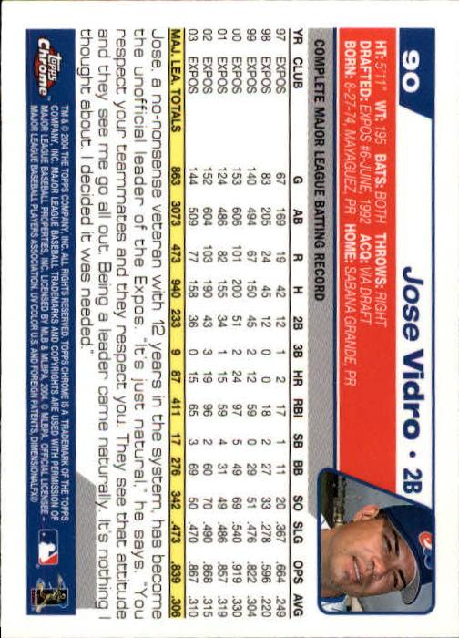 2004 Topps Chrome #90 Jose Vidro back image