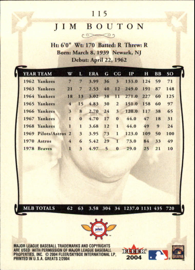 2004 Greats of the Game #115 Jim Bouton back image