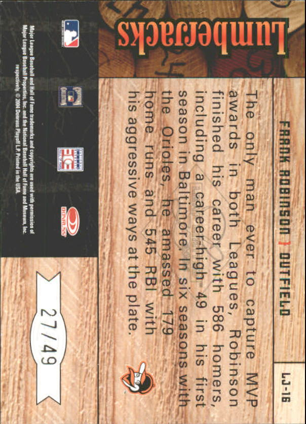 2004 Leaf Limited Lumberjacks Black #16 Frank Robinson/49 back image