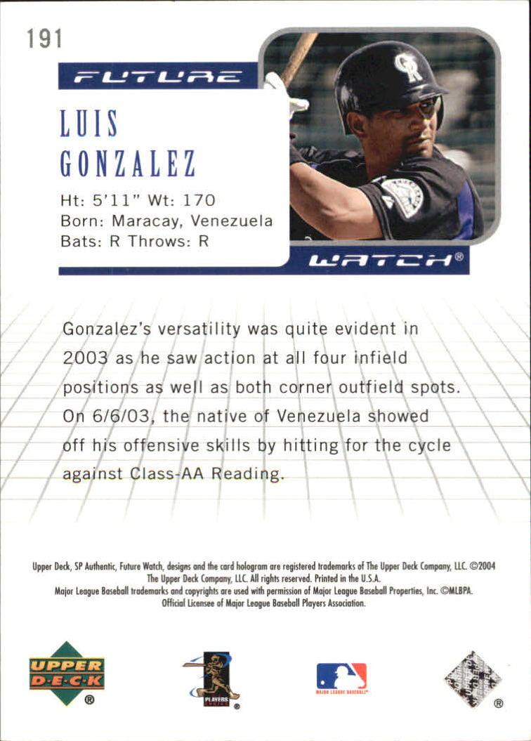 2004 SP Authentic #191 Luis A. Gonzalez FW RC back image