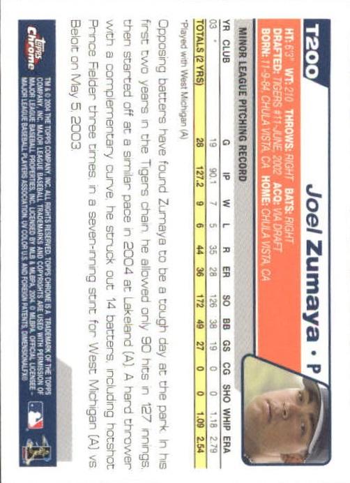 2004 Topps Chrome Traded #T200 Joel Zumaya FY RC back image