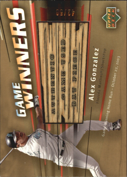 2004 Upper Deck Game Winners Bat Gold #AG Alex Gonzalez