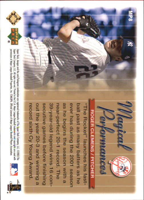 2004 Upper Deck Magical Performances Gold #8 Roger Clemens 20-1 back image