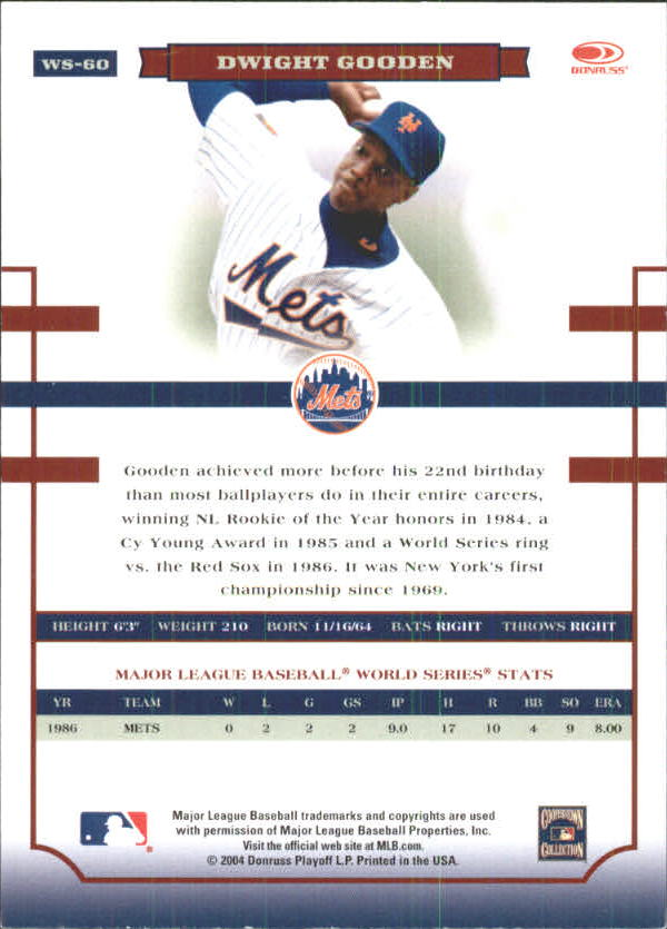 2004 Donruss World Series Blue #60 Dwight Gooden back image