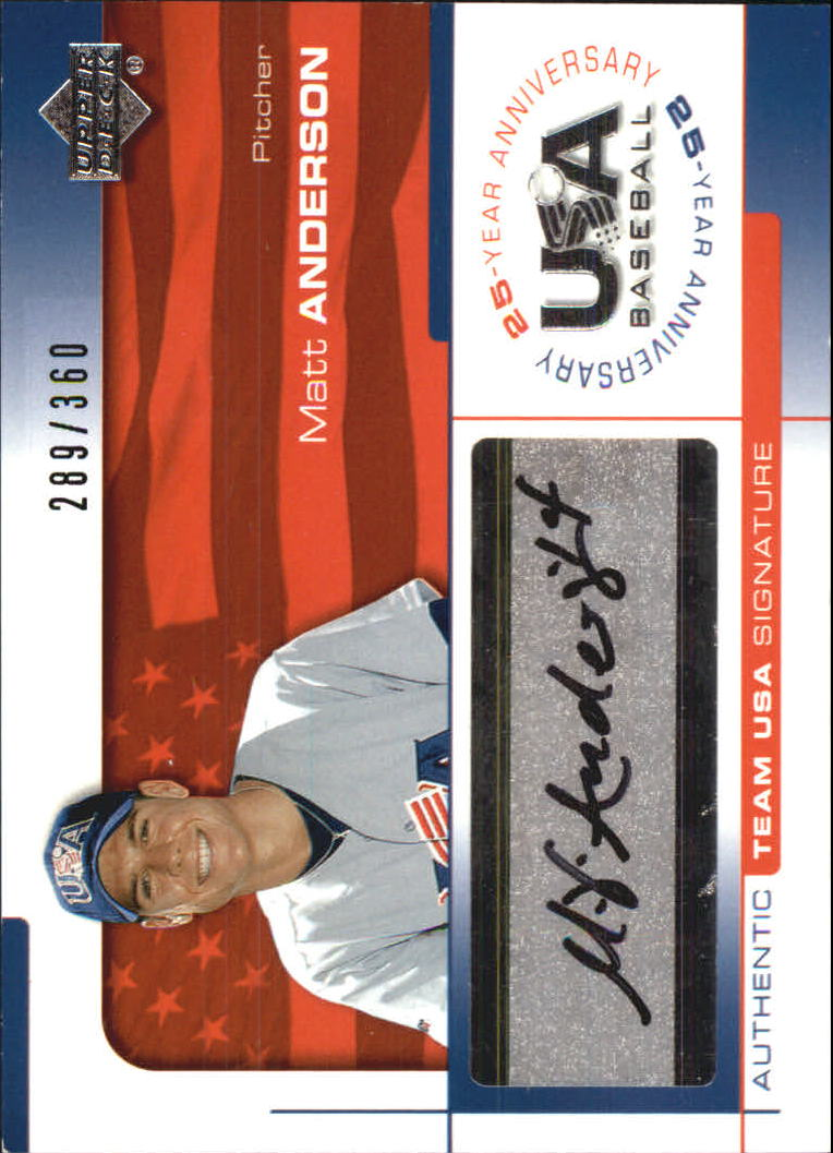 2004 USA Baseball 25th Anniversary Signatures Black Ink #AND Matt Anderson/360