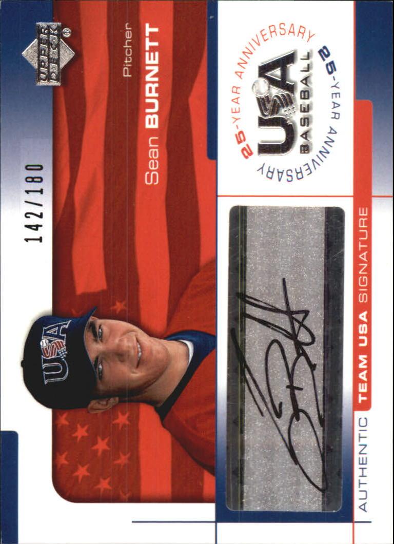 2004 USA Baseball 25th Anniversary Signatures Black Ink #BU Sean Burnett/180