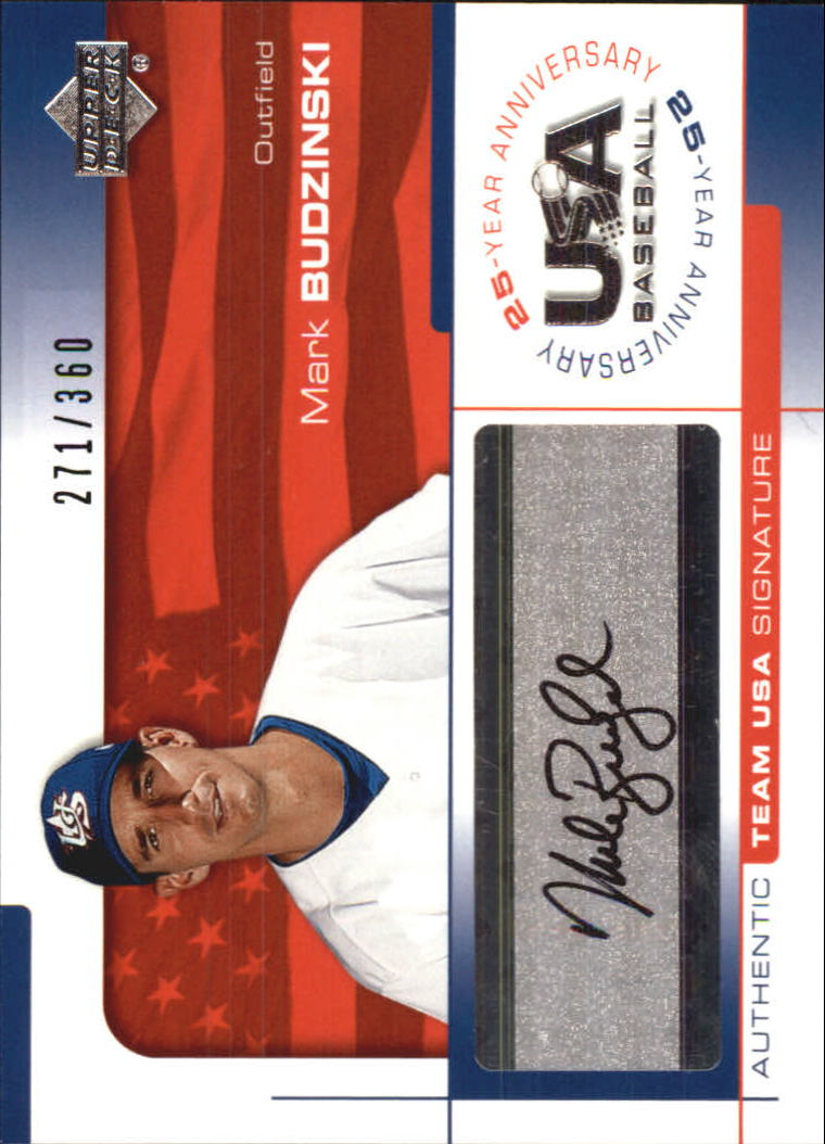 2004 USA Baseball 25th Anniversary Signatures Black Ink #BUD Mark Budzinski/360