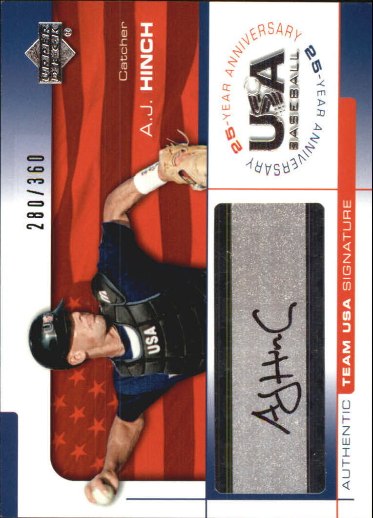 2004 USA Baseball 25th Anniversary Signatures Black Ink #HIN A.J. Hinch/360