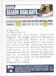 2004 Topps #335 Roger Clemens HL back image