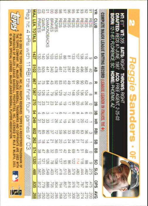 2004 Topps 1st Edition #2 Reggie Sanders back image