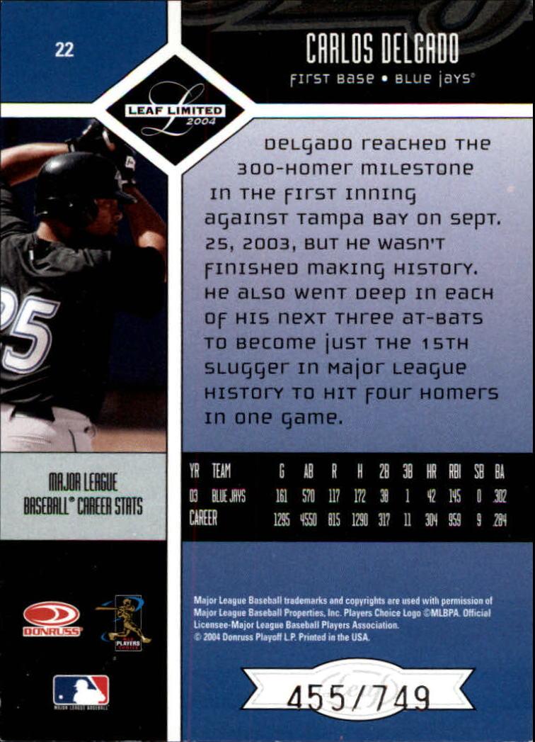 2004 Leaf Limited #22 Carlos Delgado back image