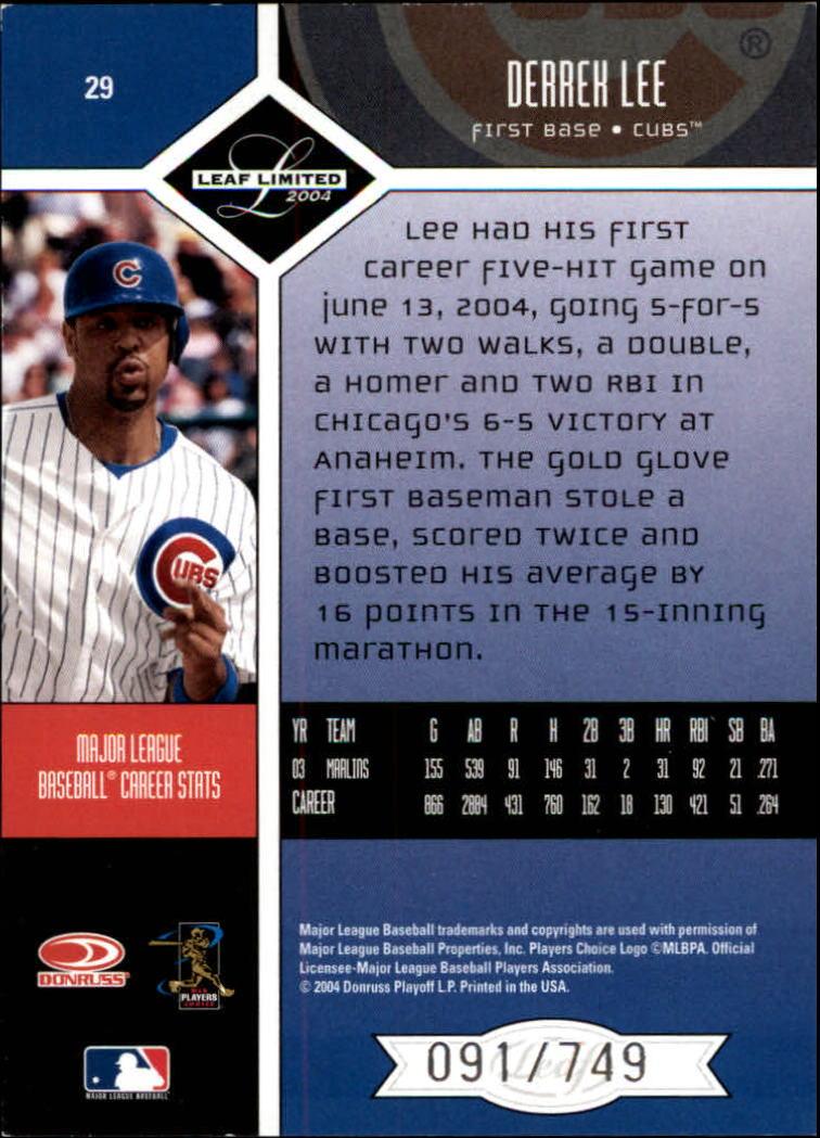 2004 Leaf Limited #29 Derrek Lee back image