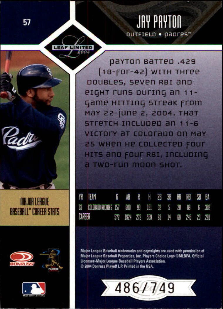 2004 Leaf Limited #57 Jay Payton back image