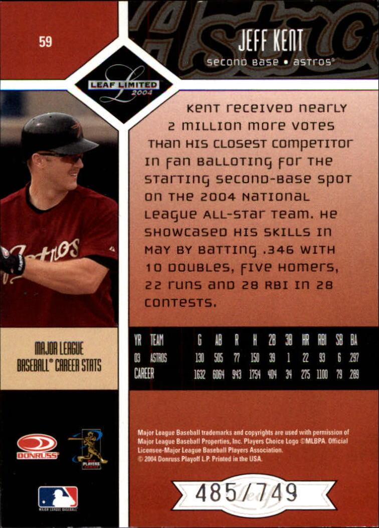 2004 Leaf Limited #59 Jeff Kent back image