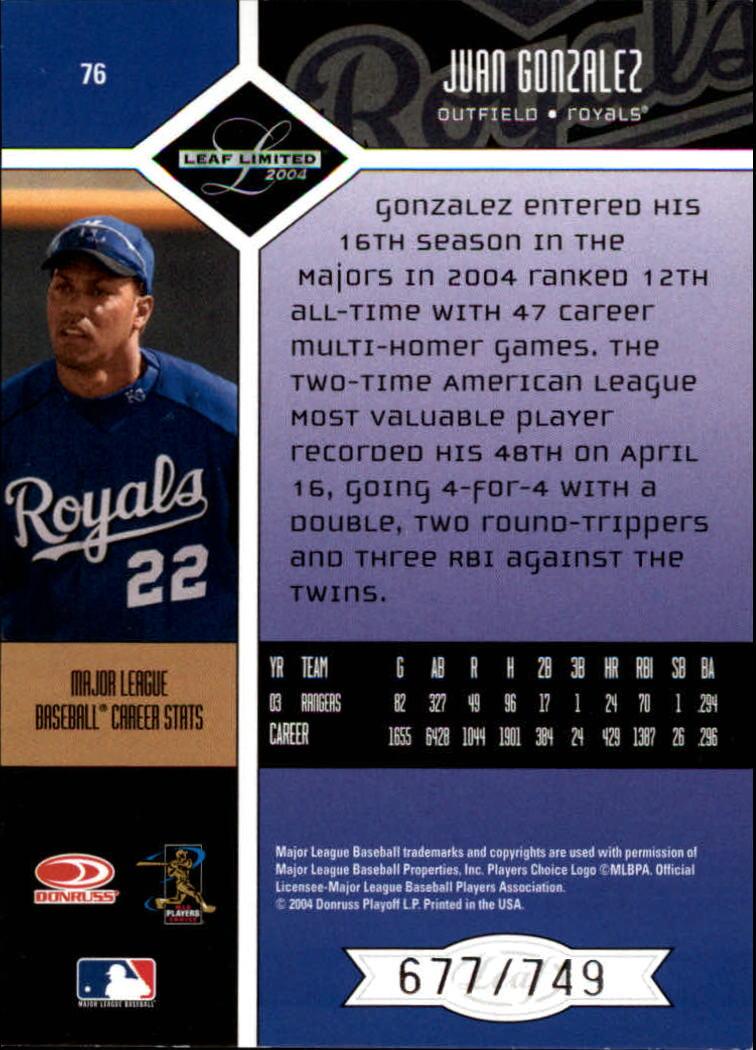2004 Leaf Limited #76 Juan Gonzalez Royals back image