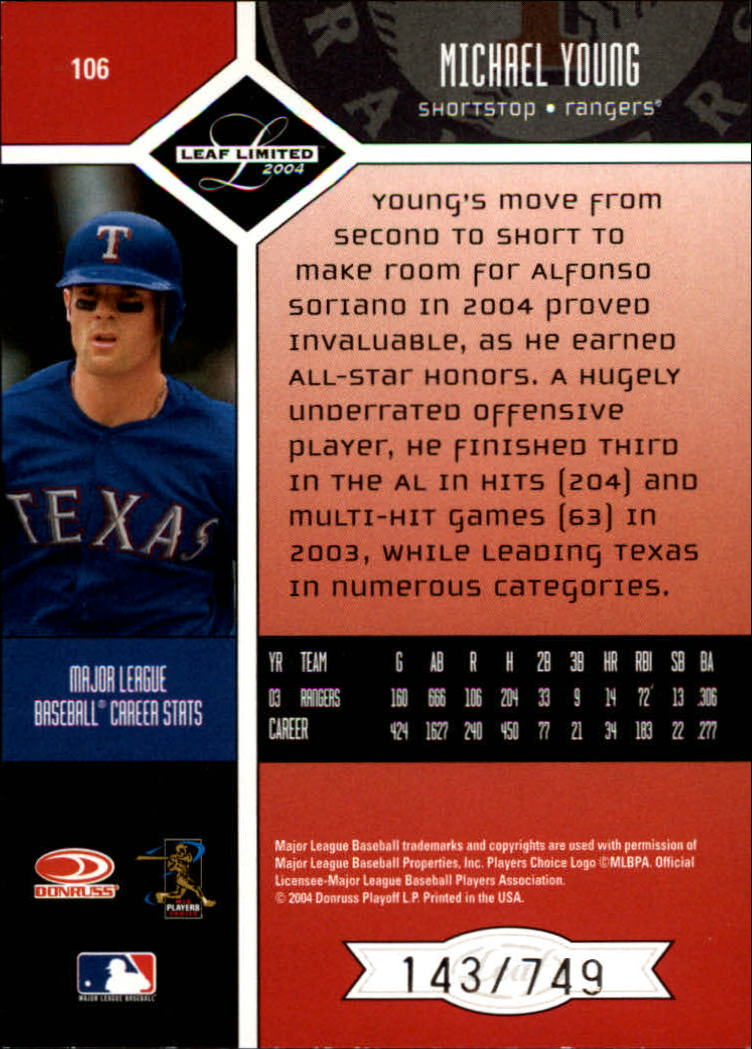2004 Leaf Limited #106 Michael Young back image