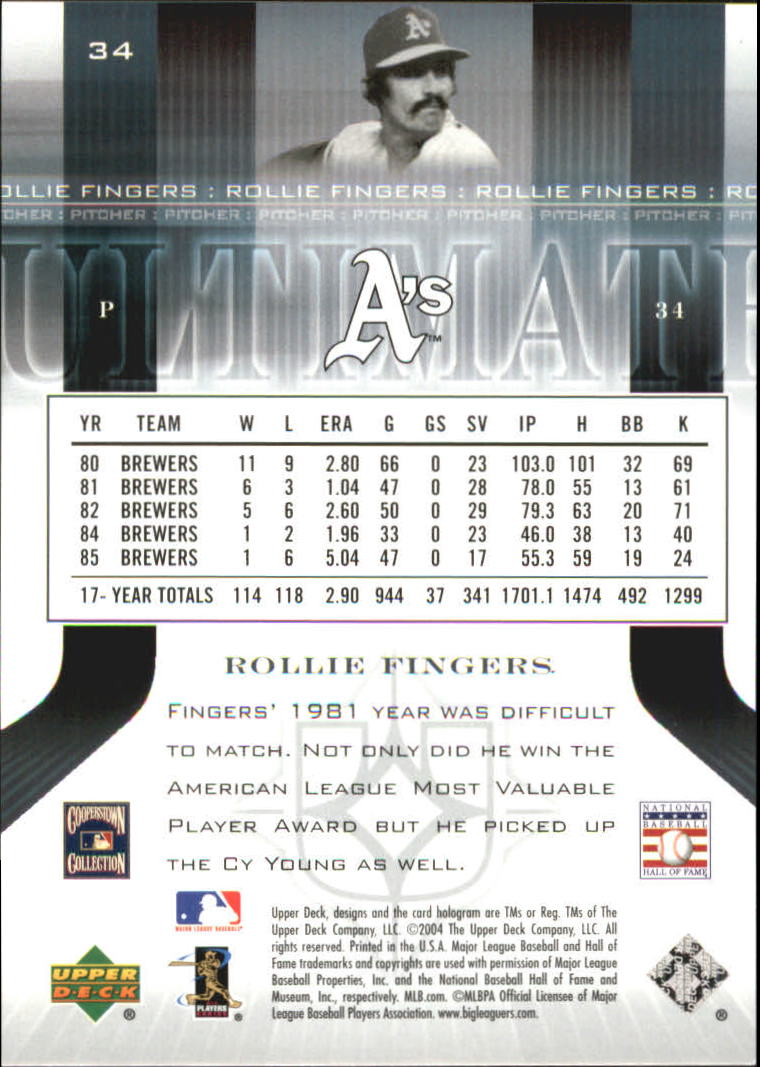 2004 Ultimate Collection #34 Rollie Fingers back image