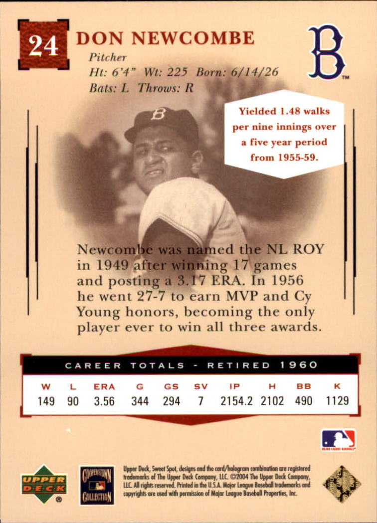 2004 Sweet Spot Classic #24 Don Newcombe back image