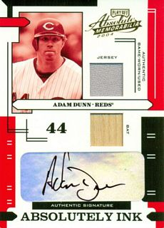 2004 Absolute Memorabilia Absolutely Ink Combo Material #AI1 A.Dunn Bat-Jsy/50