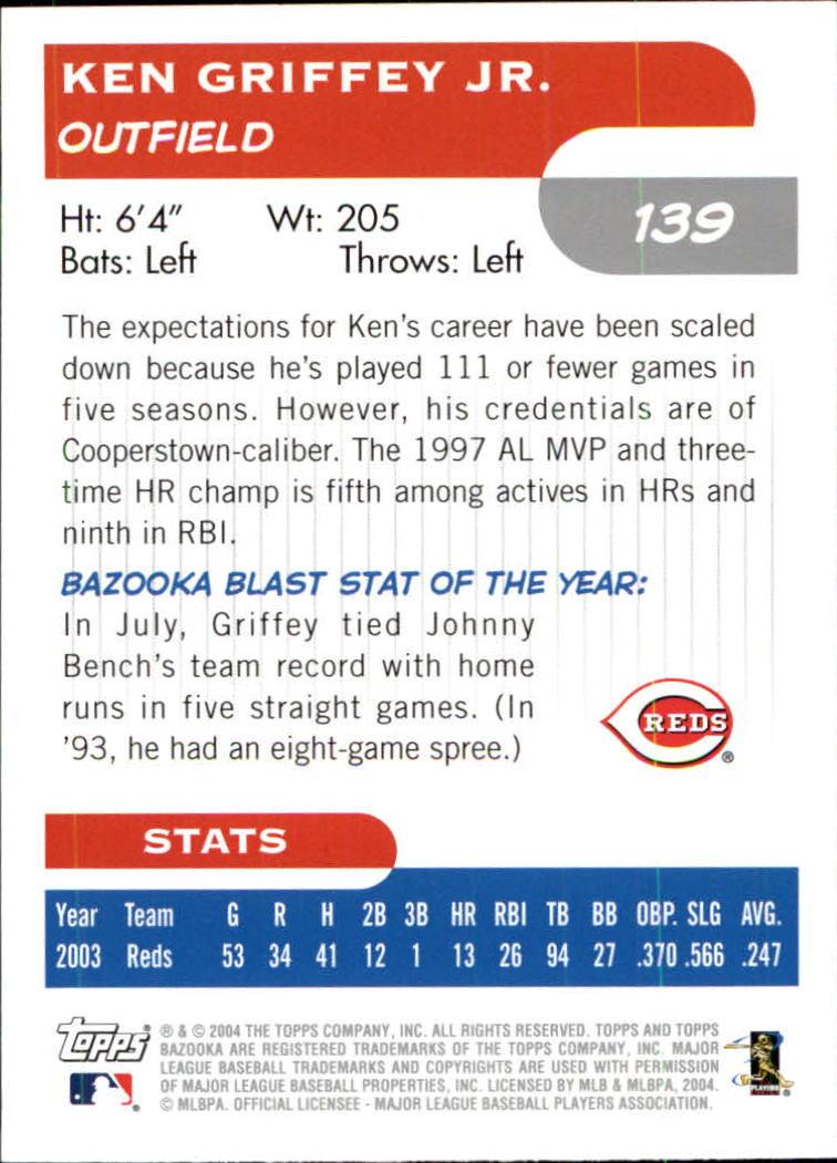 2004 Bazooka #139A Ken Griffey Jr. Fielding back image