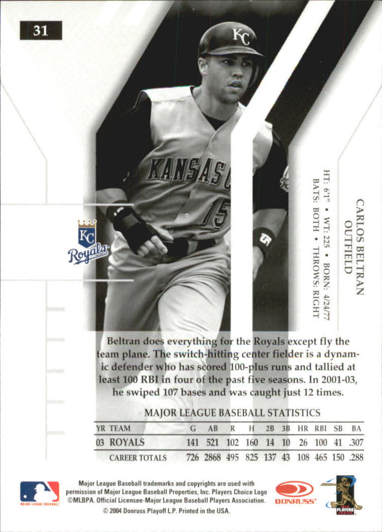 2004 Donruss Elite Turn of the Century #31 Carlos Beltran back image