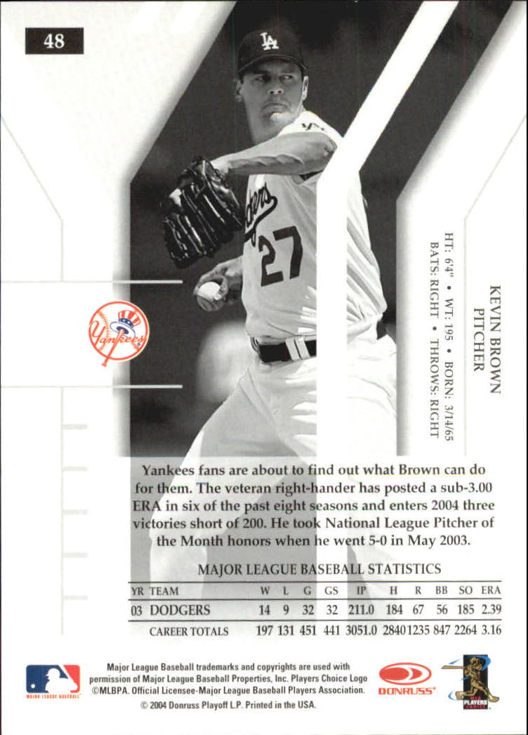 2004 Donruss Elite Turn of the Century #48 Kevin Brown back image