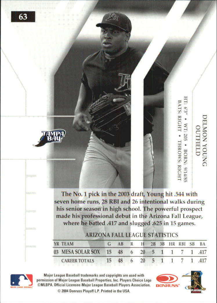 2004 Donruss Elite Turn of the Century #63 Delmon Young back image