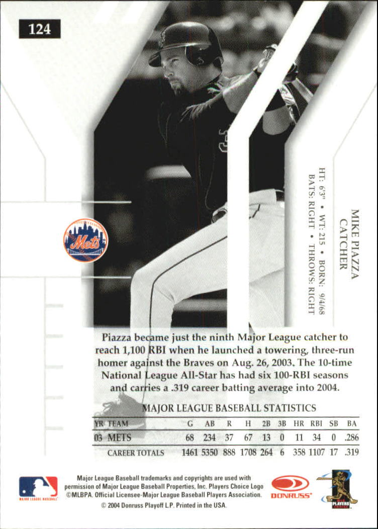 2004 Donruss Elite Turn of the Century #124 Mike Piazza back image