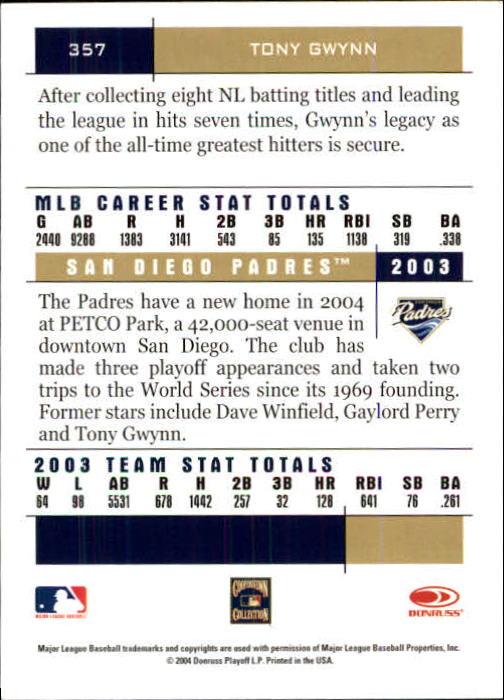 2004 Donruss Team Heroes #357 Tony Gwynn back image