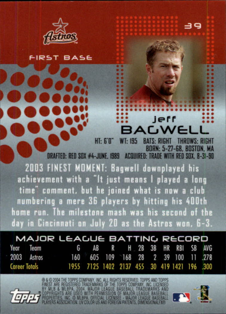 2004 Finest #39 Jeff Bagwell back image