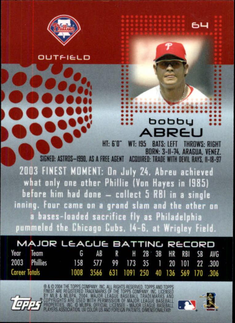 2004 Finest #64 Bobby Abreu back image