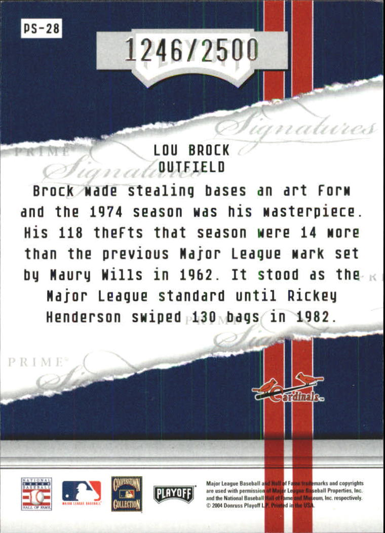 2004 Playoff Honors Prime Signature Insert #28 Lou Brock back image