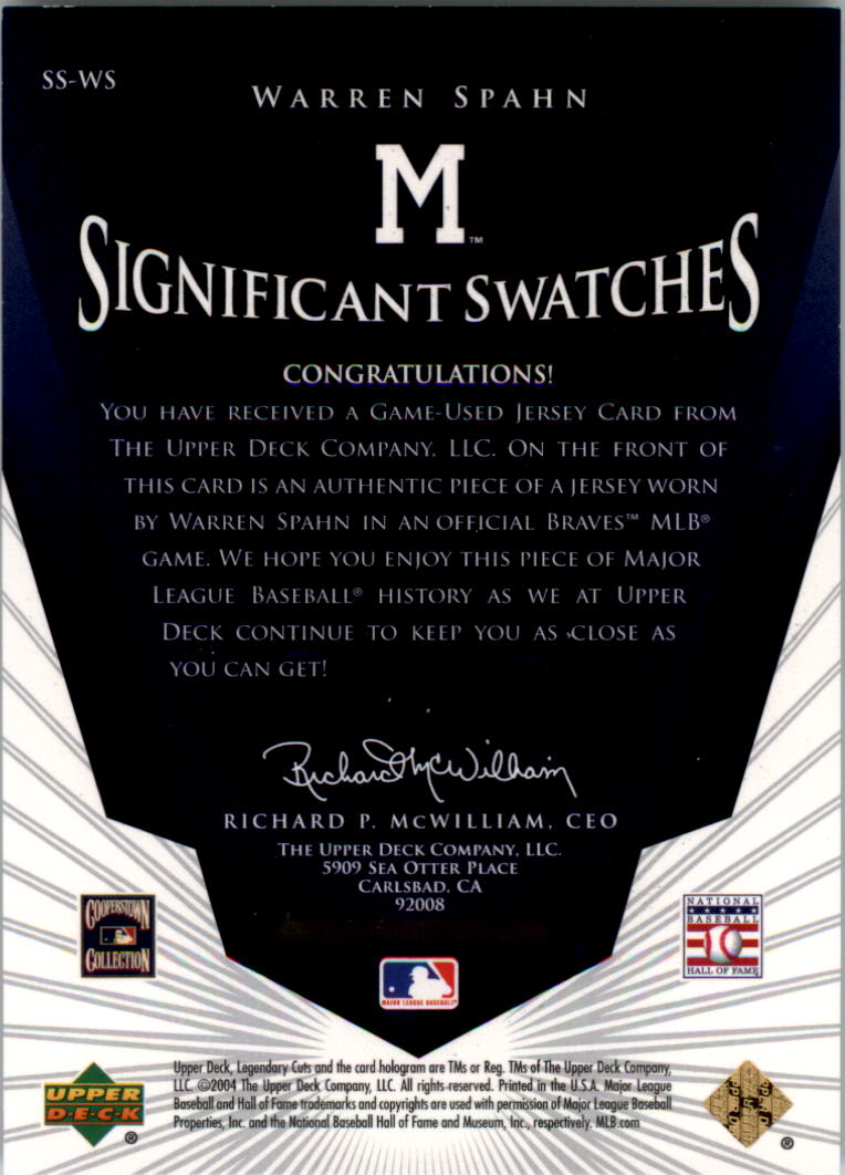 2004 SP Legendary Cuts Significant Swatches #WS Warren Spahn Jsy back image