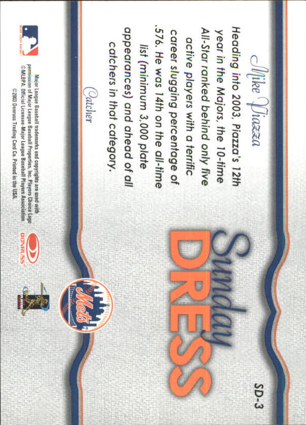 2004 Leaf Sunday Dress Second Edition #3 Mike Piazza back image